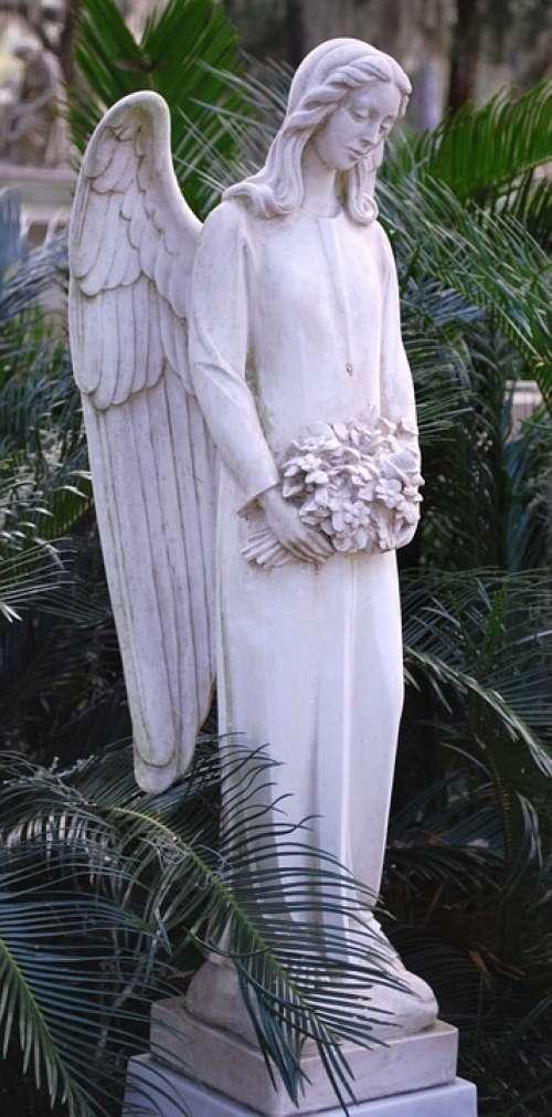 Angel Monument Statue Sculpture Cemetery Graveyard