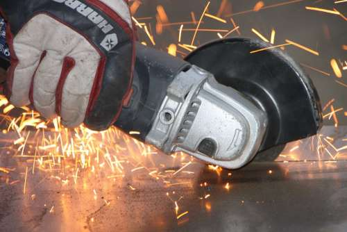 Angle Cutting Grinder Iron Metal Sparks Steel