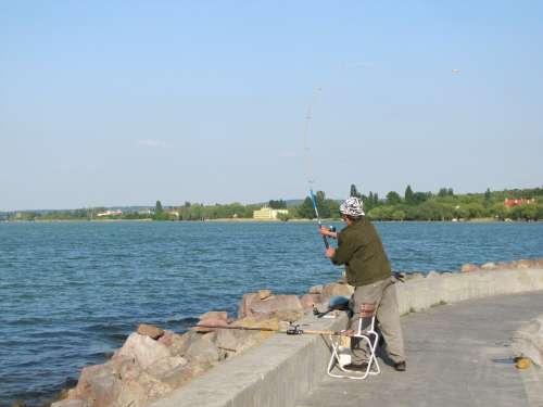 Angler Fishing Rods Water Part Lake Balaton Pier