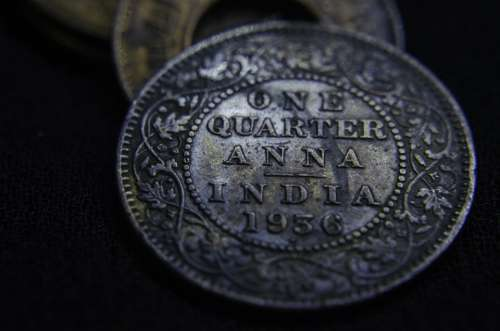 Anna Quarter Currency Old Coin India Ancient