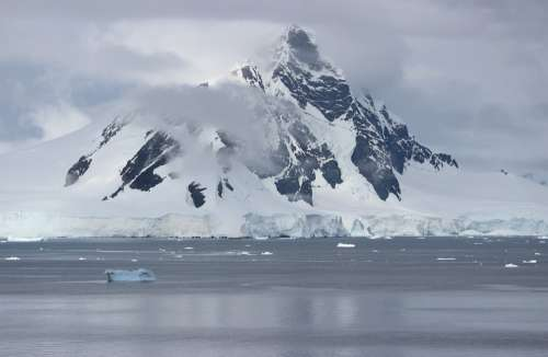 Antarctica Sea Landscape Floating Chunks Clouds