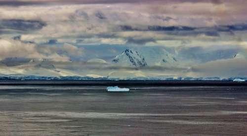 Antarctica Sea Ocean Water Snow Ice Sky Clouds