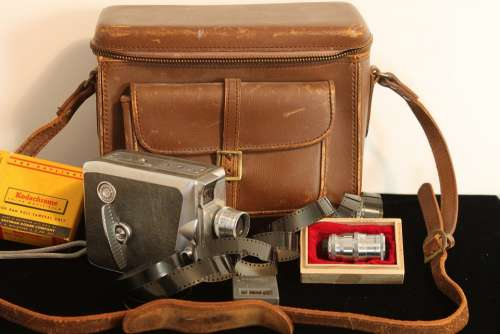 Antique Camera Film Leather Bag Lenses Keystone