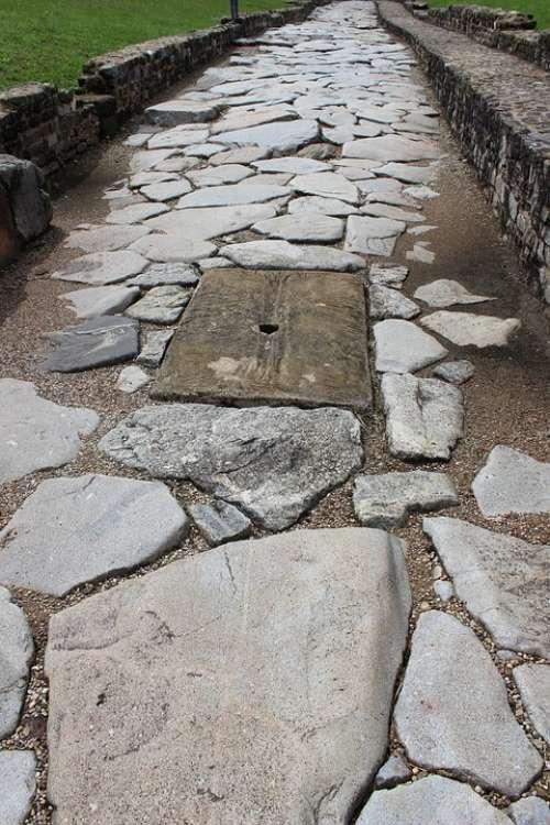 Antique Rome Pavers Sewer Roadway Vestige
