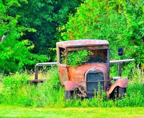 Antique Car Final Rest Abandoned Rust Broken