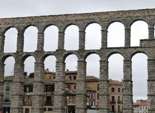 Aqueduct Viaduct Segovia Spain Castile