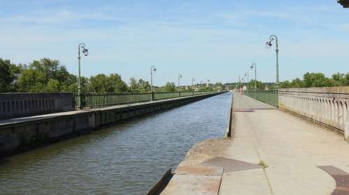 Aqueduct Briare Navigation Water Courses Sky Blue