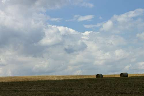 Arable Field Hay Bales Agriculture Landscape Wide