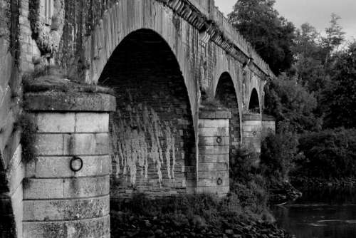 Arch Bridge Underneath French Black White River