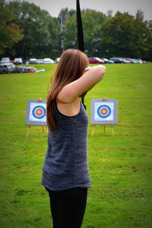 Archery Woman People Goal Concentration