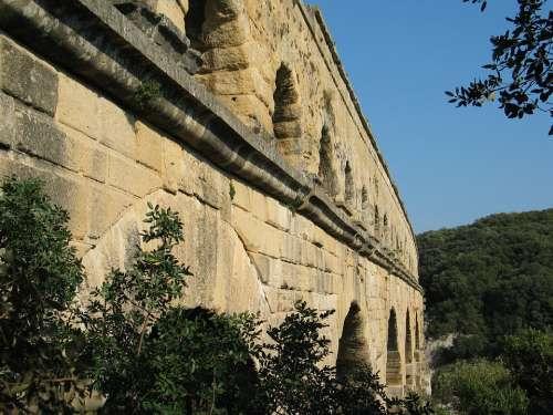 Architecture France Aqueduct Pont Du Gard