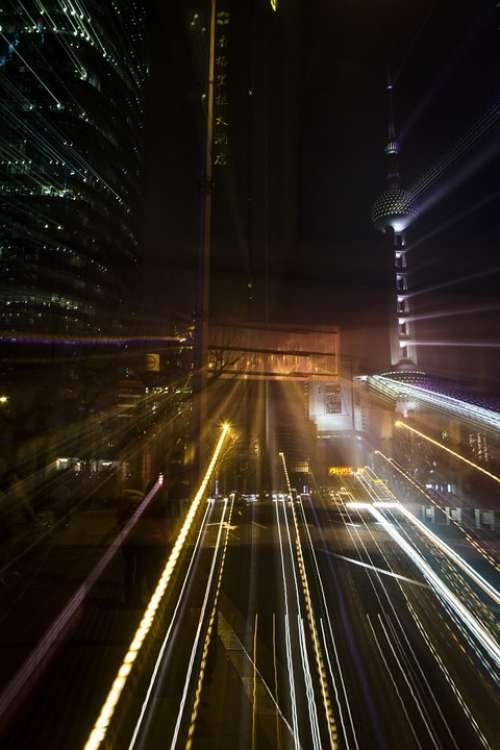 Architecture Light Shanghai Traffic