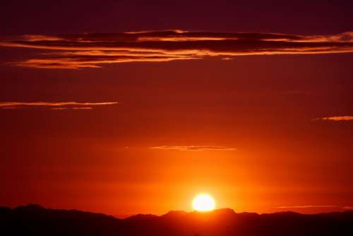 Arizona Sunrise Mountains Sun Desert Landscape
