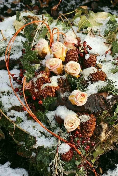 Arrangement Roses Decoration Flowers Winter Frost
