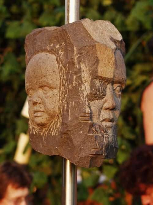 Art Stone Heads Faces