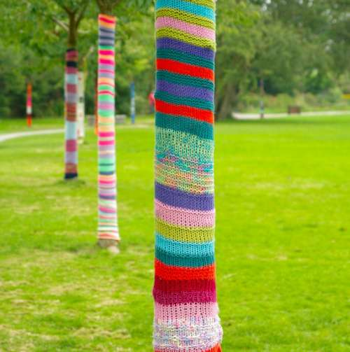Art Trees Knitting Trunks Lawn