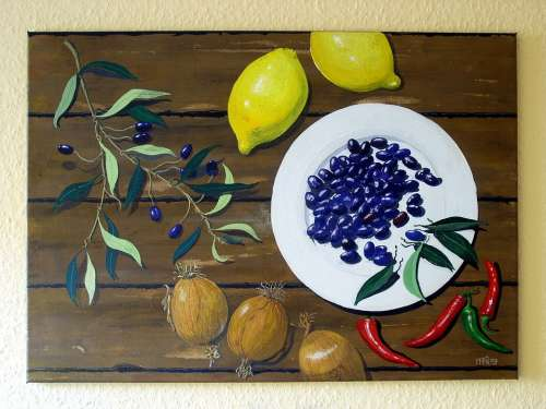 Art Paint Acrylic Paint Still Life Painting Lemons