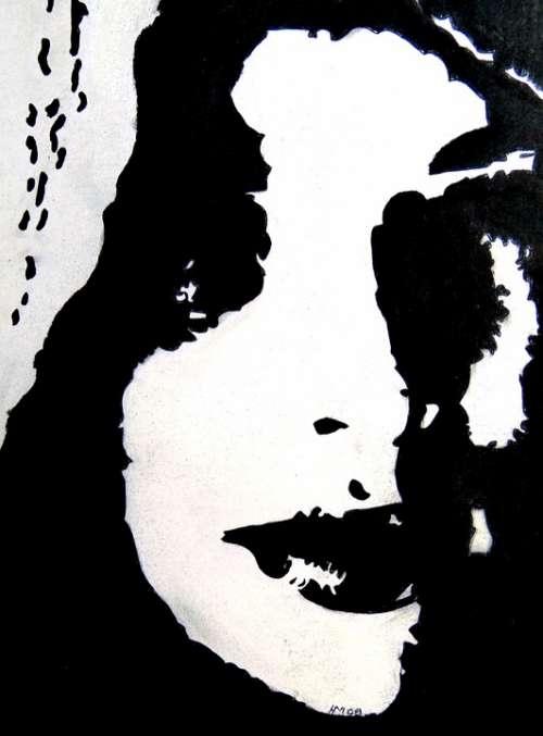 Art Painting Chalk Paper Woman Black