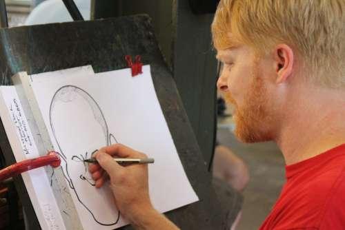Artist Caricature Street Artist Man Drawing