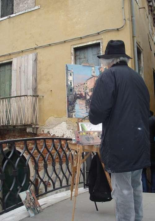 Artist Painting Venice Italy Brush Easel Art