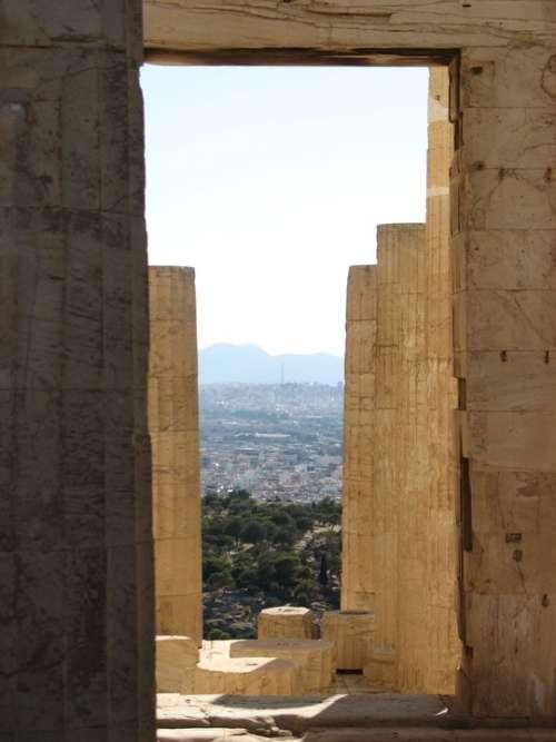 Athens Acropolis Temple Greece Pillars Scenic