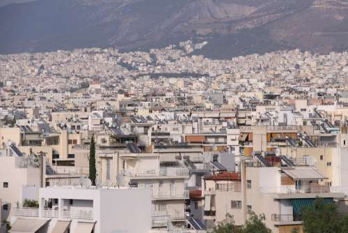 Athens City Houses Street Monuments