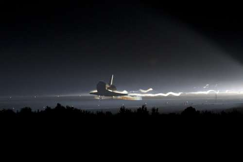 Atlantis Space Shuttle Landing Night Evening