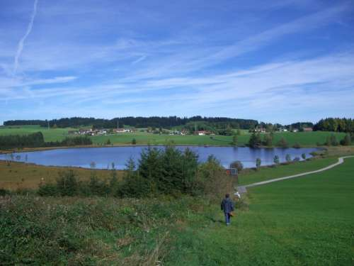 Attlesee Moor Meadow Sky Blue Nesselwang Allgäu