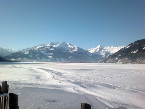 Austria Zell Am See Snow Winter Lake Mountains
