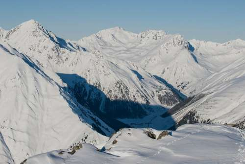 Austria Landscape Scenic Mountains Winter Snow