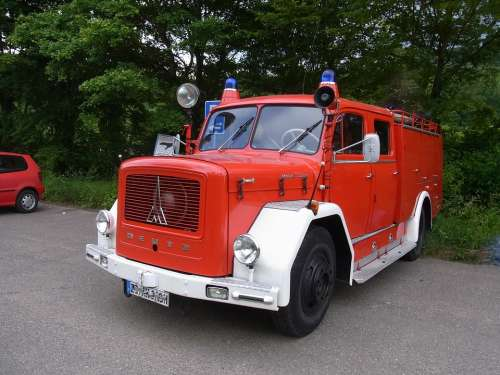 Auto Oldtimer Fire Red Fire Truck