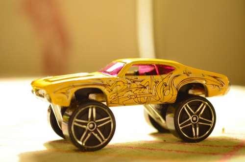 Auto Toy Car Toys Vehicle Wheels Yellow Flitzer