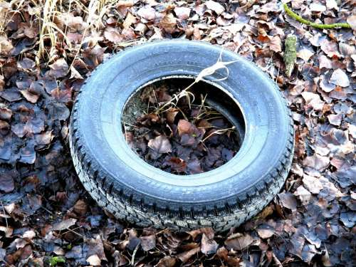 Auto Tires Waste Mature Age Thrown Away Disposed Of