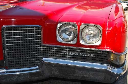 Automobile Grand Ville Red Antique Classic Car