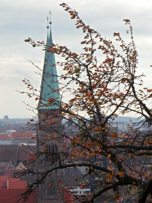 Autumn Church Steeple View Outlook Nuremberg
