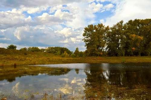 Autumn Landscape Pond Lake Beach Trees Forest