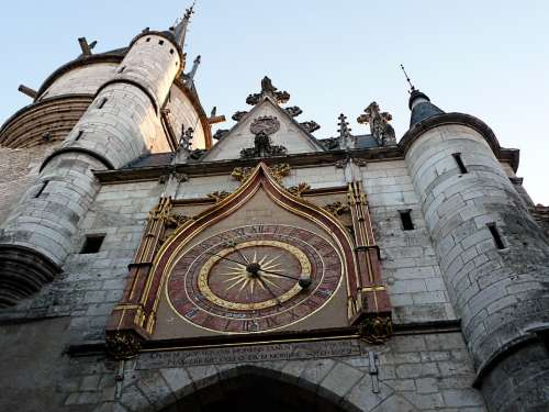 Auxerre France Clock Clock Tower Buildings