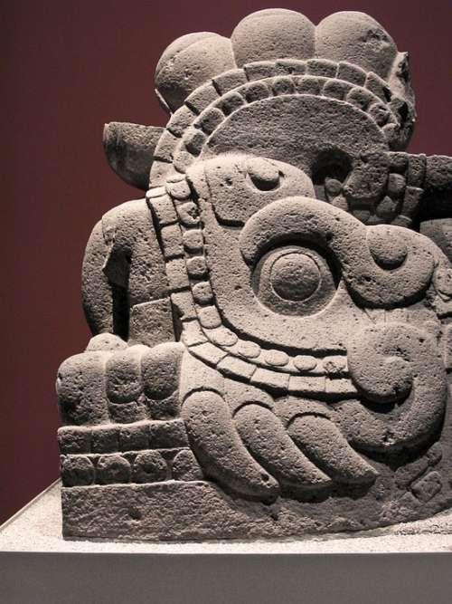 Aztec Old Monolith Prehispanic Culture Mexican