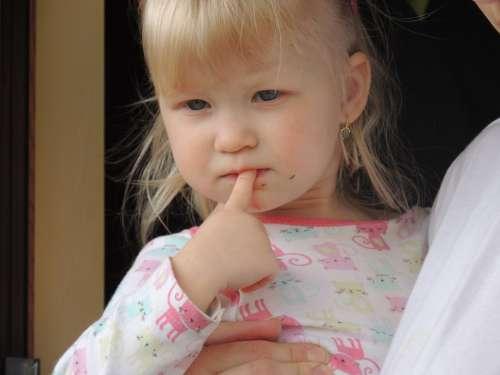 Baby Girl Blue Eyes Face Finger Love