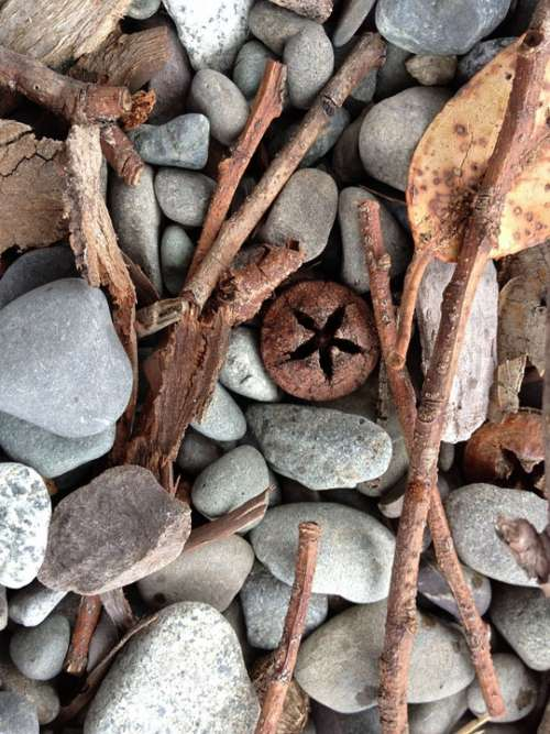 Background Stones Rocks Pebbles Wood Leaf Autumn