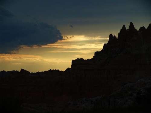 Badlands Sunset Sunrise Dusk Dawn Colorful
