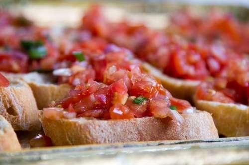 Baguette Bruschetta Tomatoes Basil Eat Starter