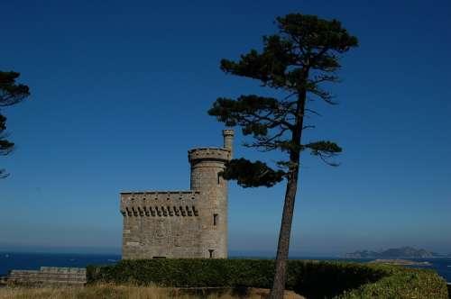 Baiona Galicia Sea Castle Tree Nature Landscape