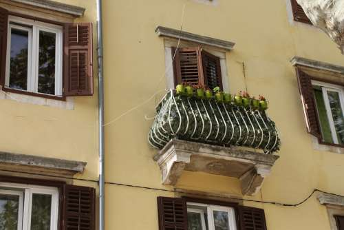 Balcony Window Facade Old Croatia Architecture