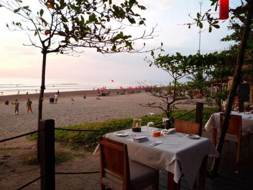 Bali Indonesia Restaurant Beach-Side Evening