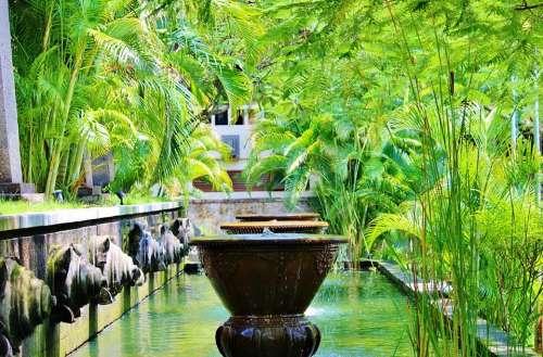 Bali Ubud Fountains Indonesia Statue Stone