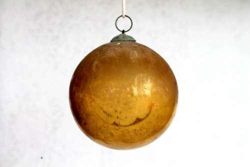 Ball Glass Yellow Glass Christmas Ornament