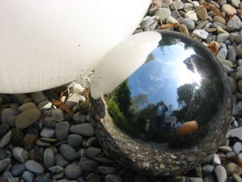 Ball Mirror Glass Chrome Metal Time Pebble