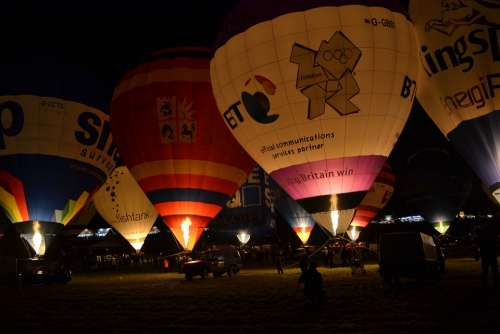Balloon Hot Air Balloons Flying Night Bristol Uk