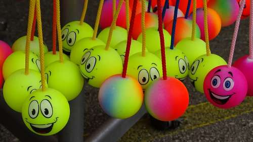 Balls Round Yellow Movement Play Smiley